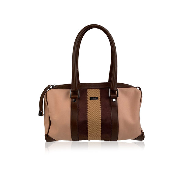 Gucci Beige Canvas Boston Bag Handbag with Striped Detail