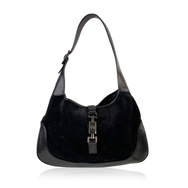 Gucci Black Suede and Leather Hobo Jackie O Shoulder Bag