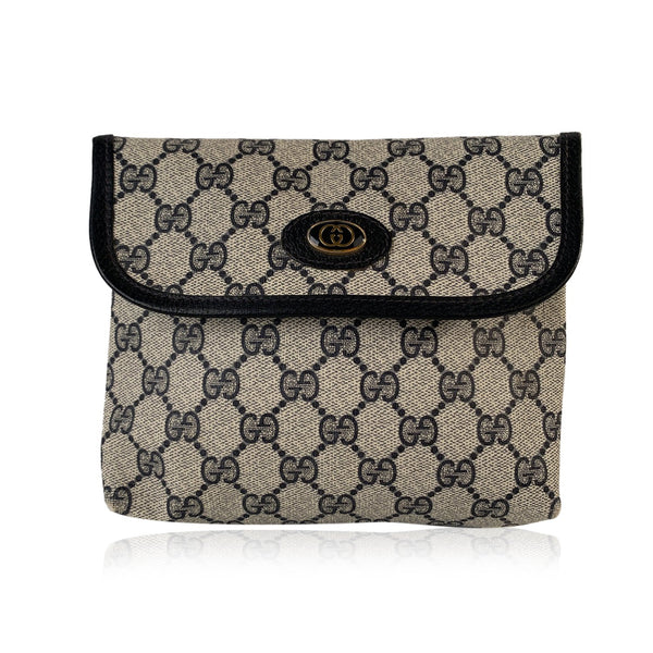 Gucci Vintage Blue Monogram Canvas Pouch Purse Bag