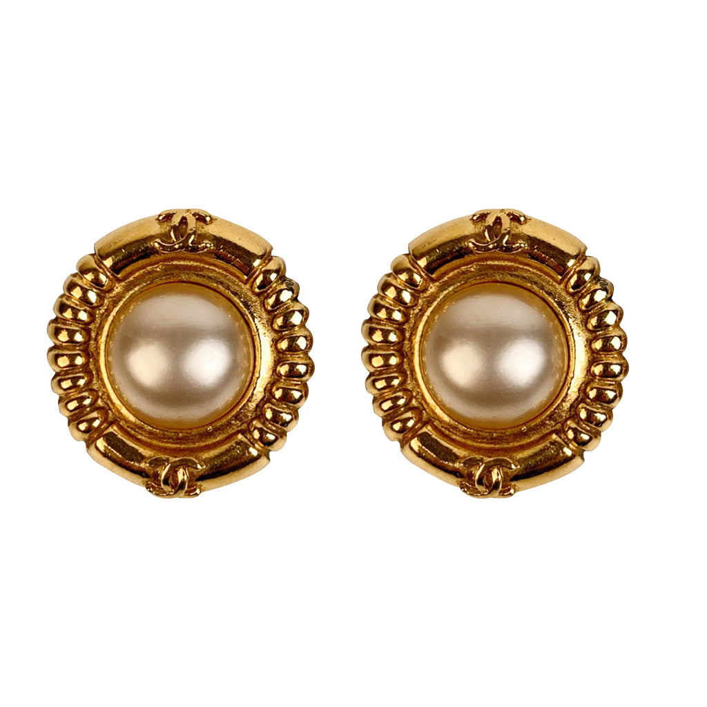 Chanel Vintage Gold Metal and Faux Pearl CC Logo Clip On Earrings