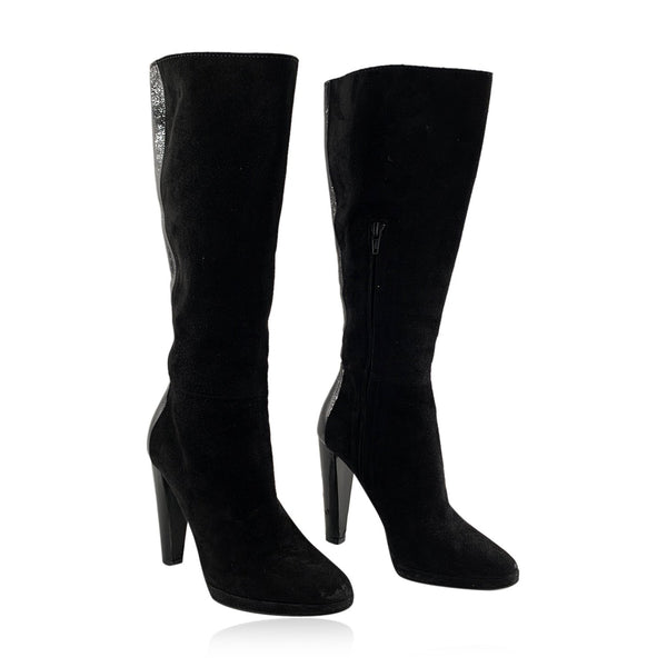 Pierre Hardy Black Suede Patent Leather Knee High Heeled Boots Size 36