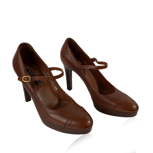 Ralph Lauren Brown Leather Mary Jane Shoes Heels Size 7.5