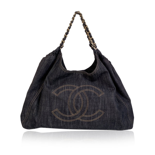 Chanel Blue Denim Jeans Large Coco Cabas Tote Hobo Bag