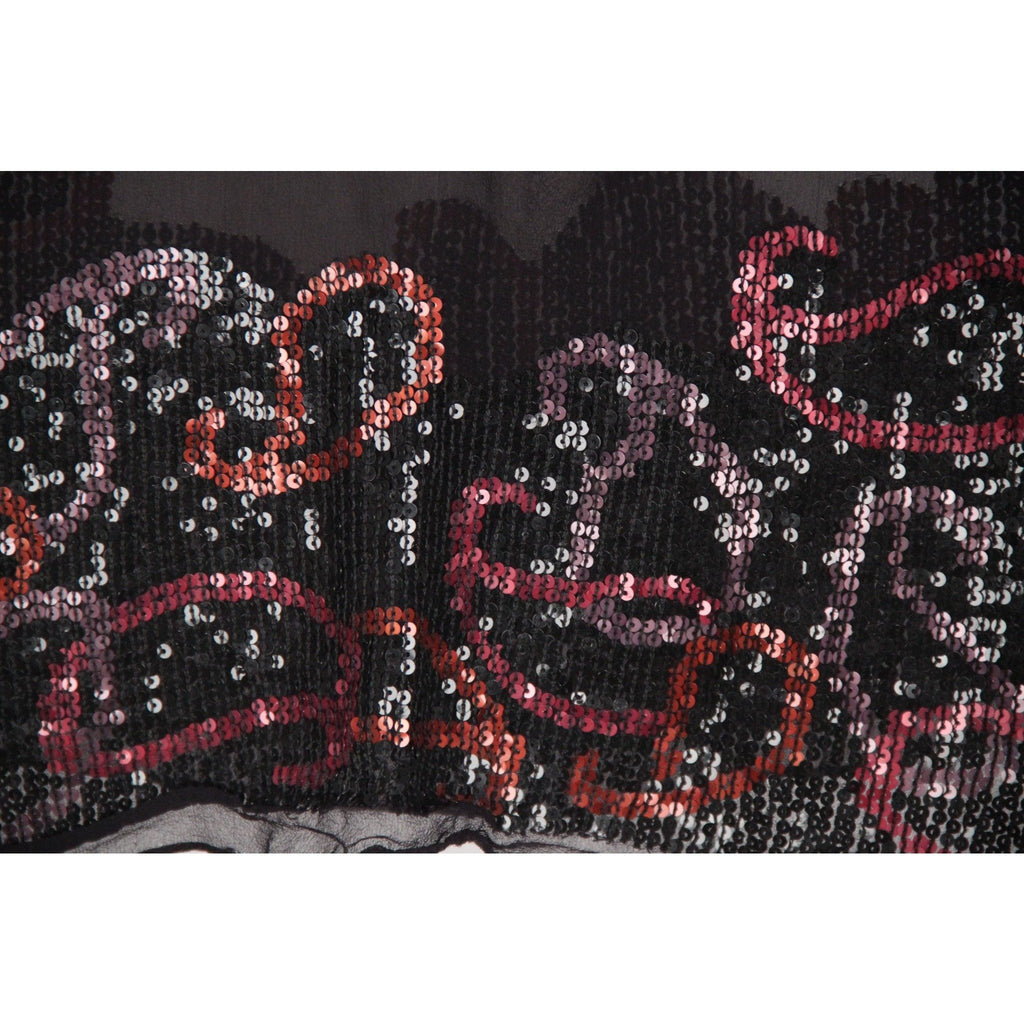COVERI COLLECTION Vintage Black Chiffon Silk STOLE w/ SEQUINS