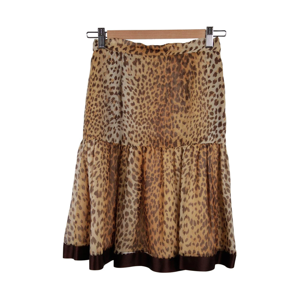 Valentino Boutique Vintage Animal Print Silky Peplum Skirt A Line Size 6 - OPHERTY & CIOCCI