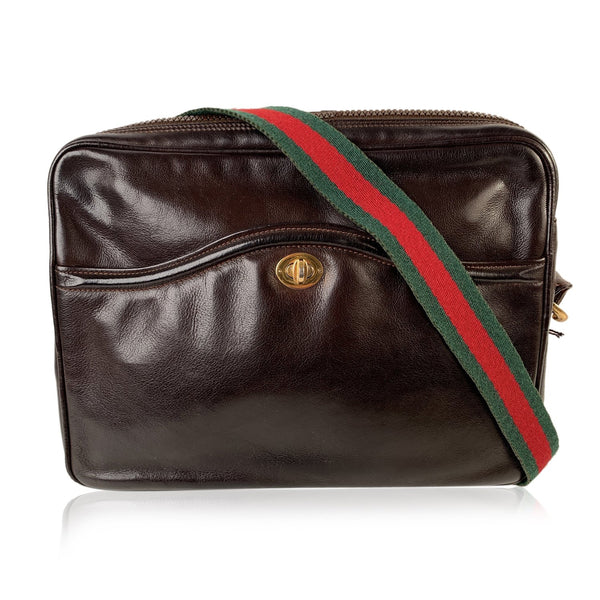 Gucci Vintage Brown Leather Horsebit Shoulder Bag