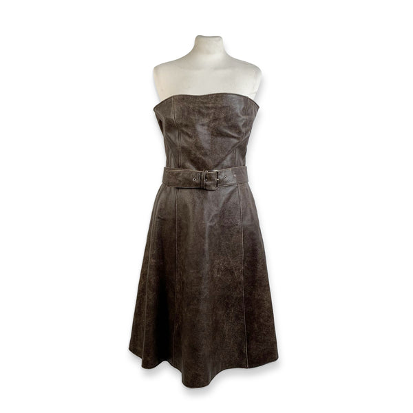 Miu Miu Brown Distressed Leather Bustier Dress Size 44