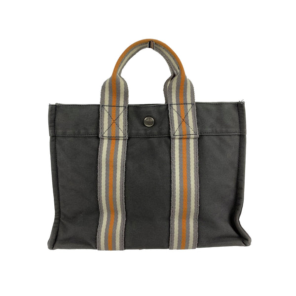 Hermes Paris Gray Canvas Fourre Tout PM Bag Ginza 2001 Limited Ed