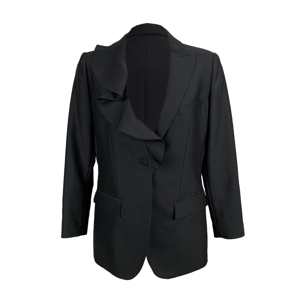 Valentino Black Wool and Silk Blazer with Ruffle Size 40 IT