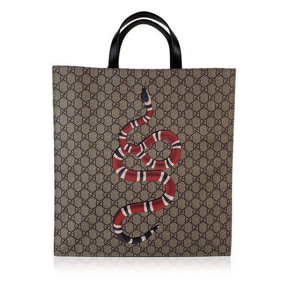 Gucci GG Supreme Monogram Canvas Kingsnake Print Tote Bag