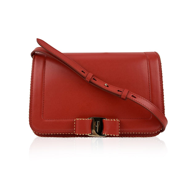 Salvatore Ferragamo Red Leather Vara RW Bow Flap Shoulder Bag