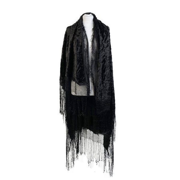 Vintage Black Velvet Look Flamenco Fringed Large Shawl Wrap