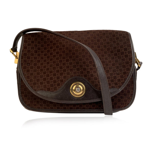 Gucci Vintage Brown GG Monogram Suede Shoulder or Messenger Bag