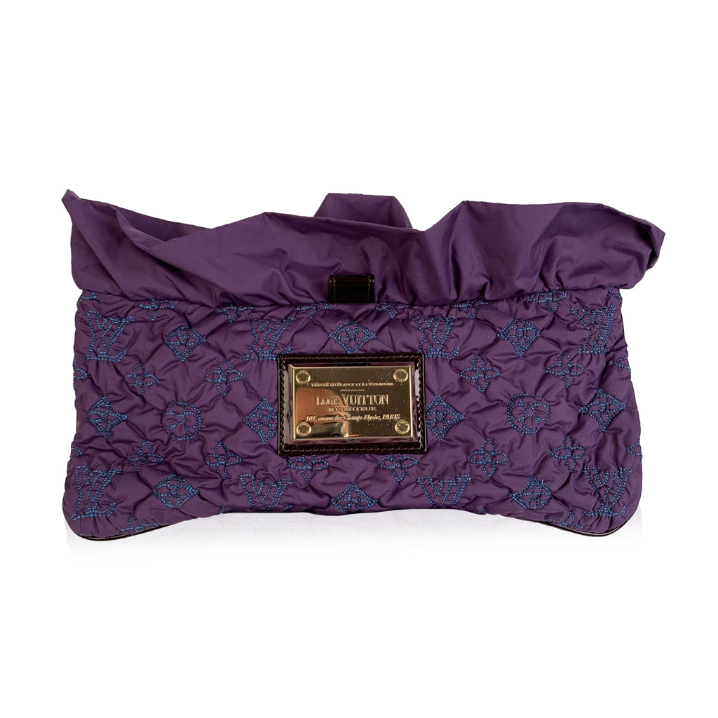 Louis Vuitton Purple Quilted Pochette Devi MM Clutch Bag
