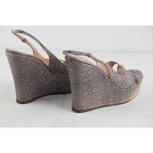 Sergio Rossi Embossed Leather Wedges Shoes Size 40