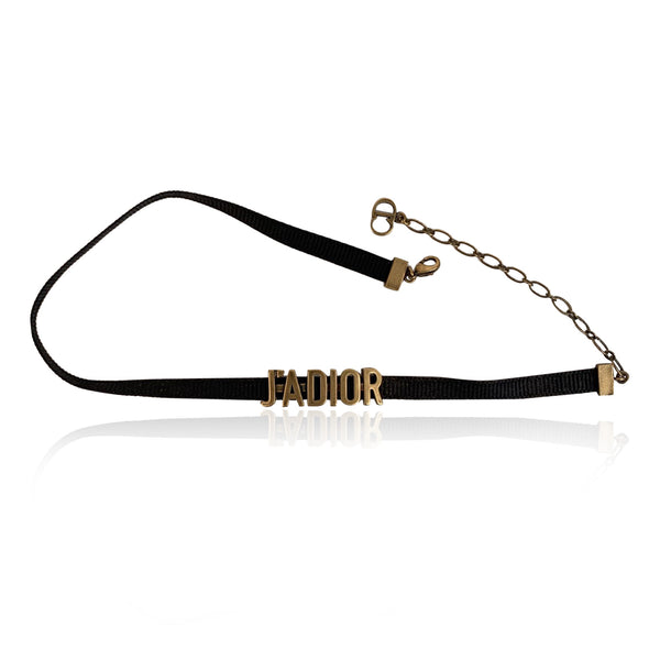 Christian Dior Black Gros Grain J'Adior Chocker Necklace