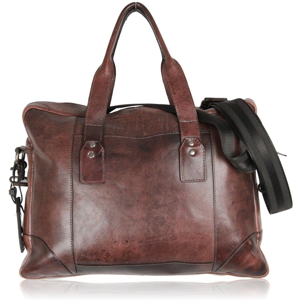 AVANT PREMIERE Brown Leather BRIEFCASE Work Bag w/ Strap