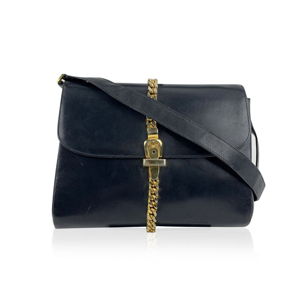 Gucci Vintage Blue Leather Shoulder Bag Gold Metal Chain Detail