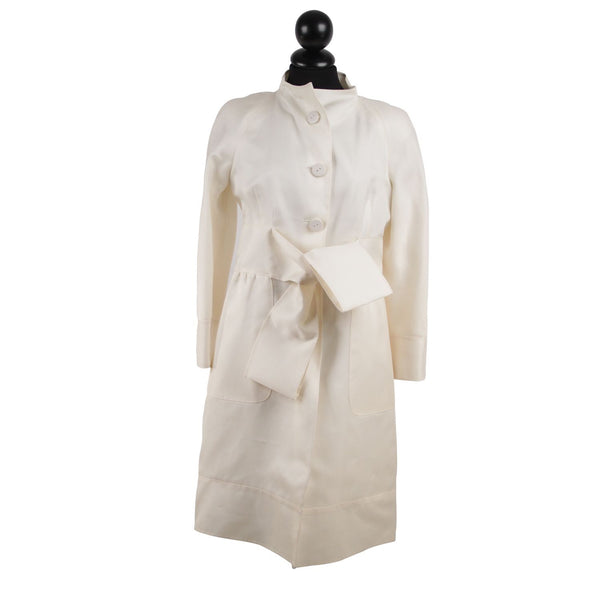 Valentino Ivory White Acetate and Silk Coat with Waist Belt Size 6