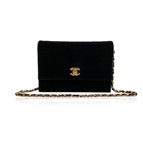 Chanel Vintage Black Quilted Velvet Evening Shoulder Bag