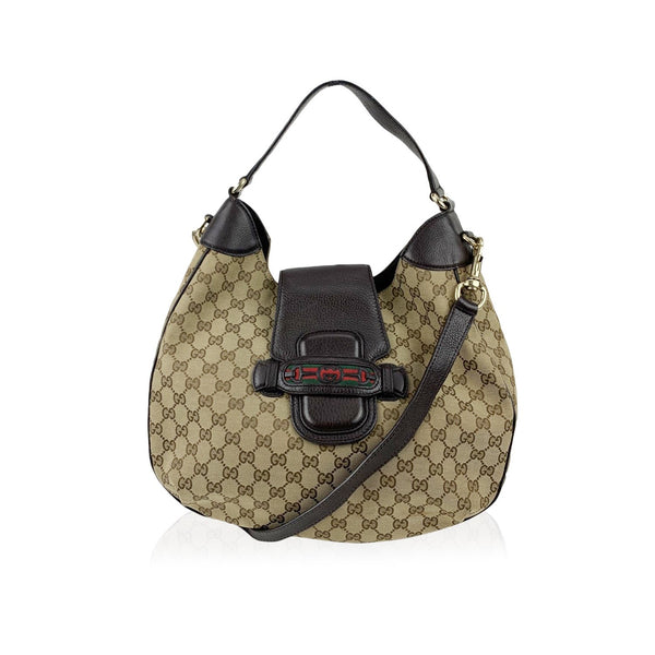 Gucci Beige GG Monogram Canvas Dressage Web Hobo Shoulder Bag