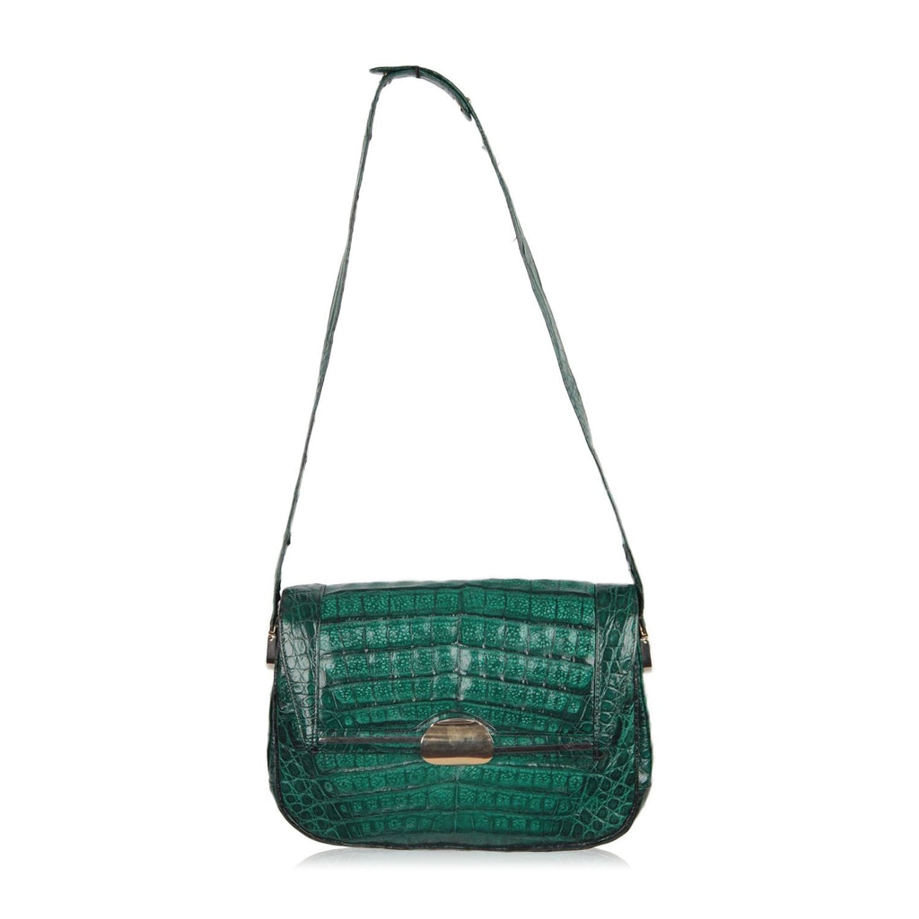 Comtesse Vintage Green Crocodile Leather Shoulder Bag