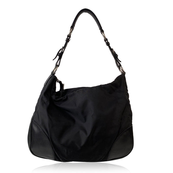 Prada Black Tessuto Canvas and Leather Hobo Tote Shoulder bag