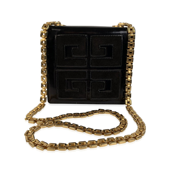 Givenchy Vintage Black Leather and Suede Small Evening Crossbody Bag