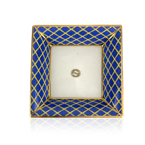 Gucci Vintage Porcelain White Blue Yellow Square Ashtray