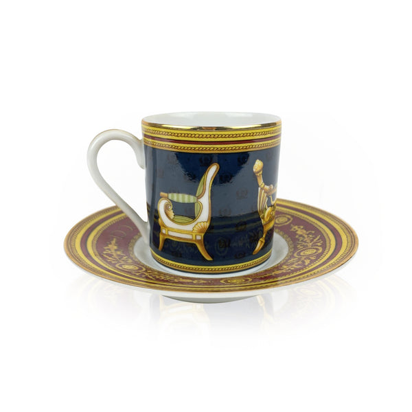Gucci Vintage Porcelain Chair Design Coffee Cup and Saucer
