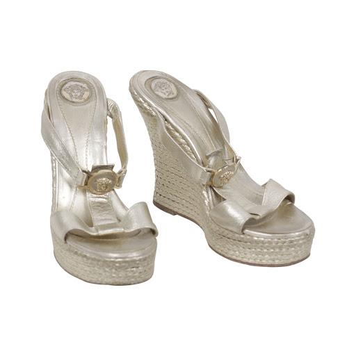 Versace Gold Tone Leather Medusa Wedges Sandals Shoes Size 40 IT
