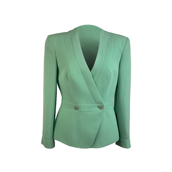 Giorgio Armani Vintage Green Silk Double Breasted Blazer Size 38 IT
