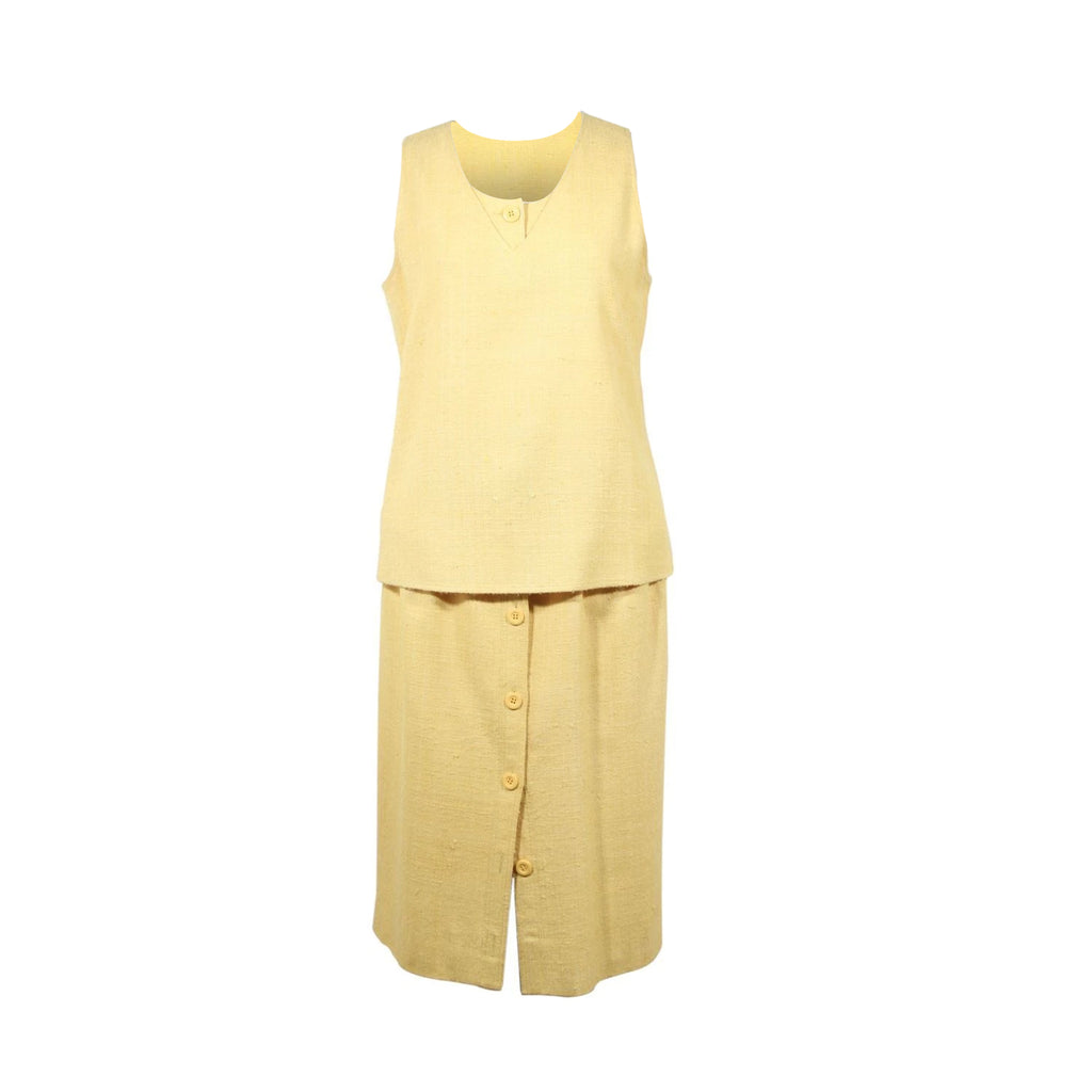 Valentino Boutique Vintage Yellow Vest and Skirt Set Size 8 US