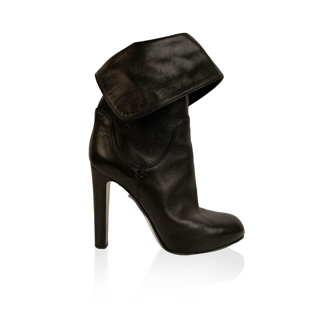 Sergio Rossi Black Leather Roll Cuffs Ankle Boots Size 38.5