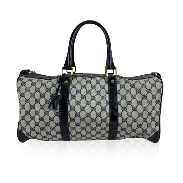 Gucci Vintage Blue Monogram Canvas Duffle Duffel Boston Bag