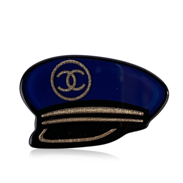 Chanel Blue Resin 2018 Captain's Hat Nautical CC Brooch Pin