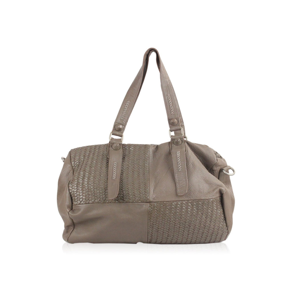 Taupe Leather Duffle Shoulder Bag