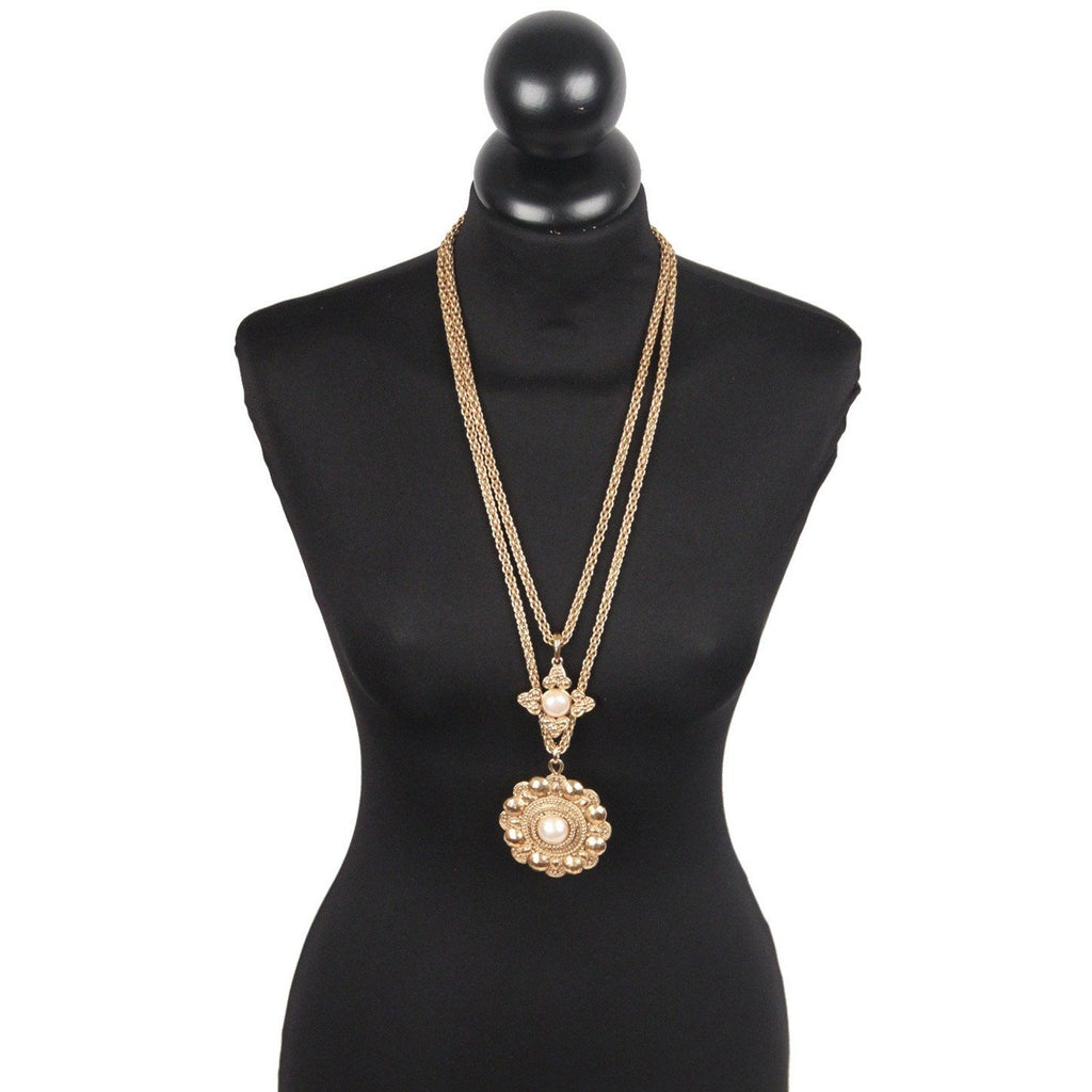 Chanel 2 Row Long Pendant Necklace with Medallions