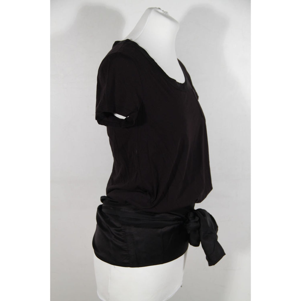 T-Shirt Top with Satin Self Tie Hem