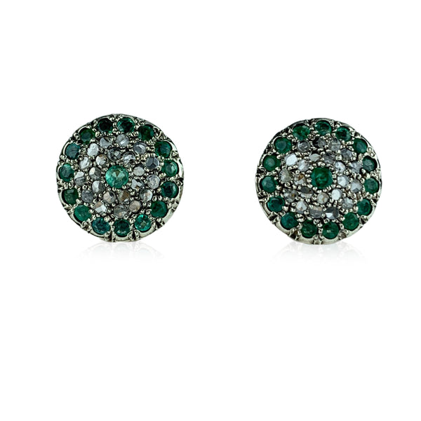 Handmade in Italy Retro White Gold Diamonds Emeralds Button Mint Earrings