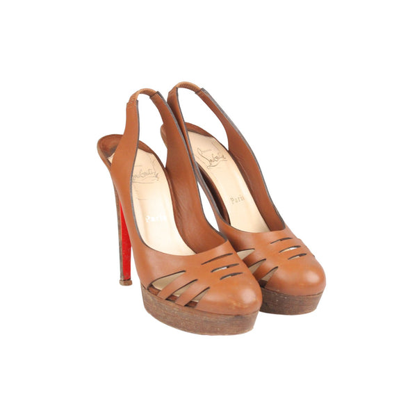 Christian Louboutin Tan Leather Laser Cut Slingback Pumps Shoes Size 38.5