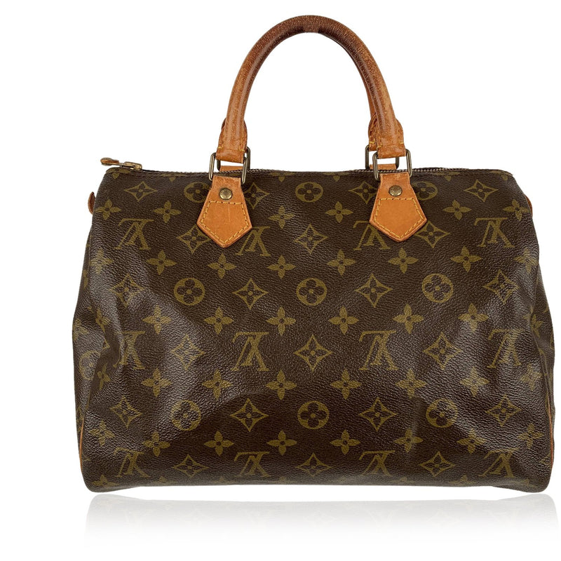 Louis Vuitton Vintage Brown Monogram Canvas Handbag Speedy 30 Bag
