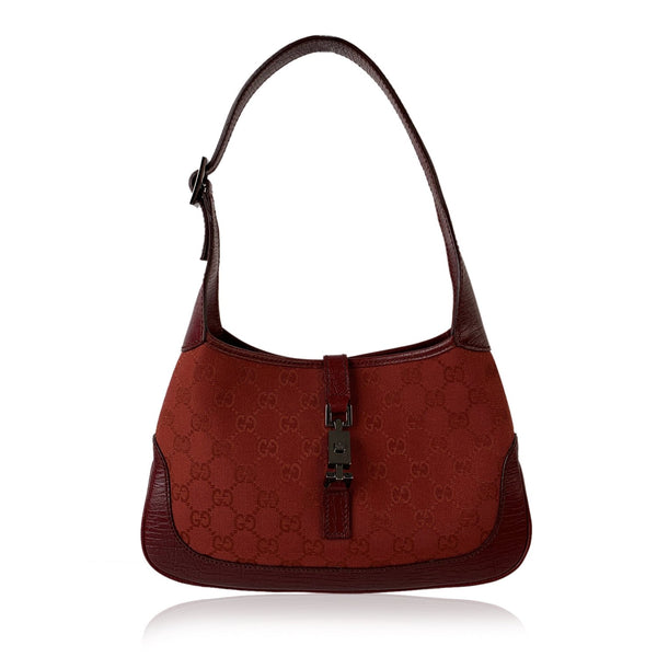 Gucci Red Monogram Canvas Hobo Jackie O Bag Shoulder Bag