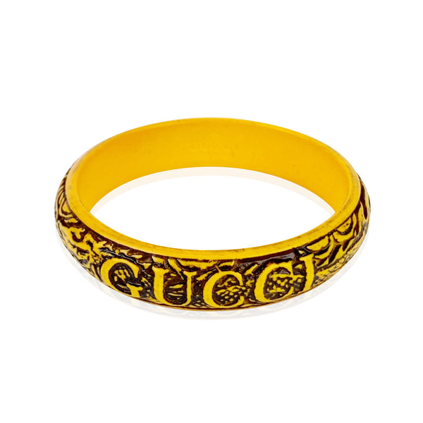 Gucci Yellow Dragon Resin Engraved Logo Bangle Bracelet Size S