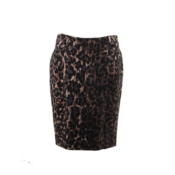Blumarine Leopard Stretch Wool Pencil Skirt Bodycon Size 44 IT