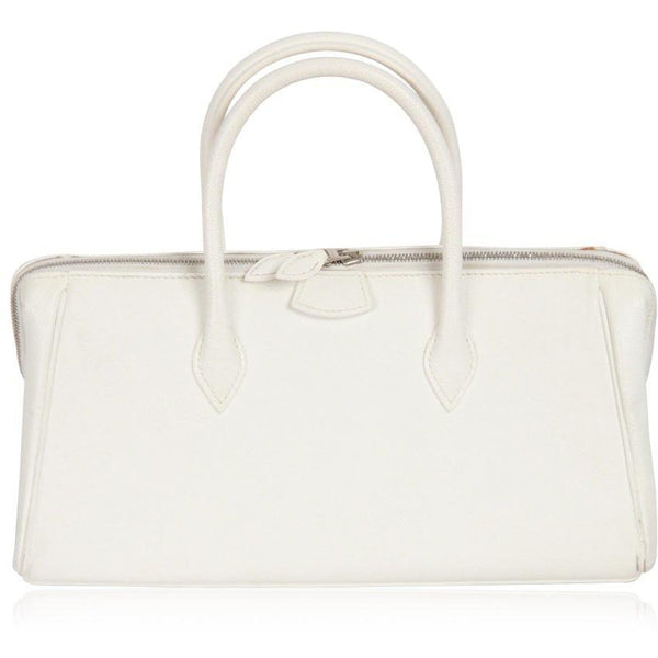 Hermes Paris White Leather Paris Bombay Bag Handbag 28 cm