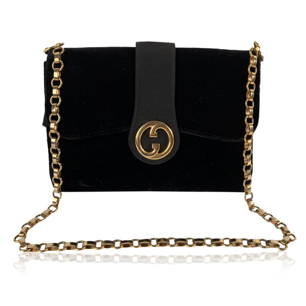 Gucci Vintage Black Velvet Evening Shoulder Bag with Chain