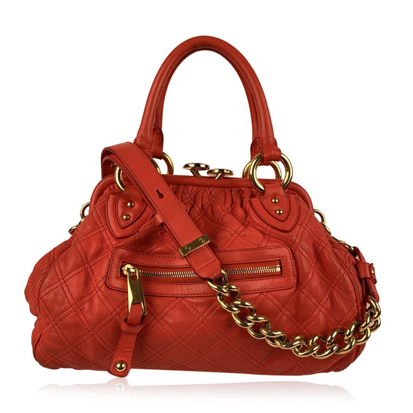 Marc Jacobs Red Coral Quilted Leather Stam Doctor Bag