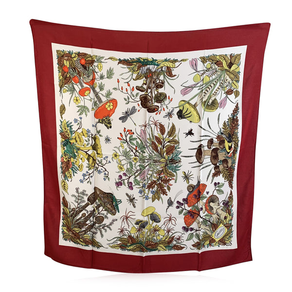 Gucci Vintage Floral Silk Scarf Funghi Mushrooms 1967 Accornero