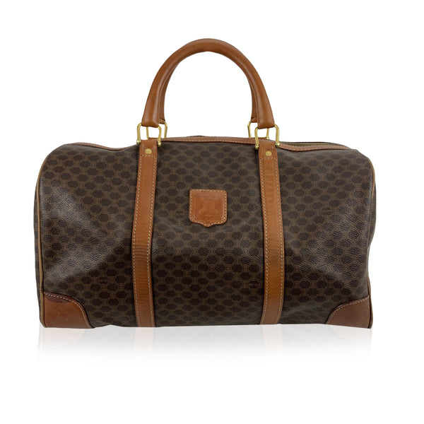 Celine Vintage Brown Macadam Canvas Duffel Duffle Boston Bag